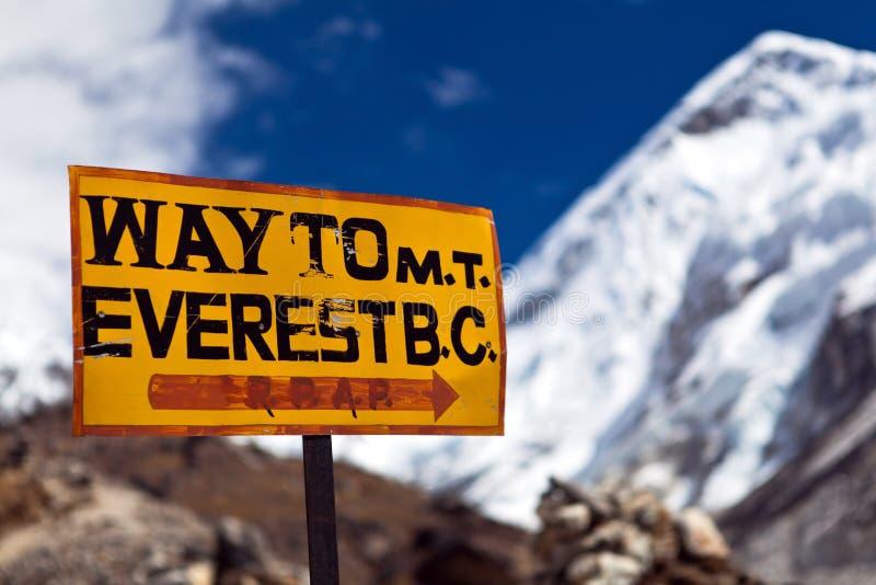 Poteau indicateur d'Everest de support photo stock