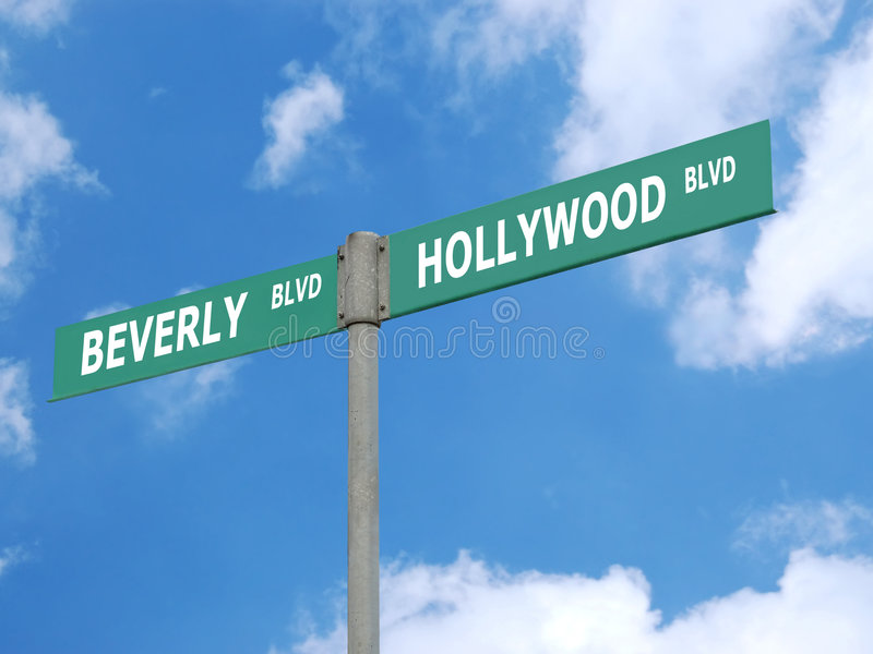 Poteau indicateur de blvd de Hollywood et de Beverly photo libre de droits