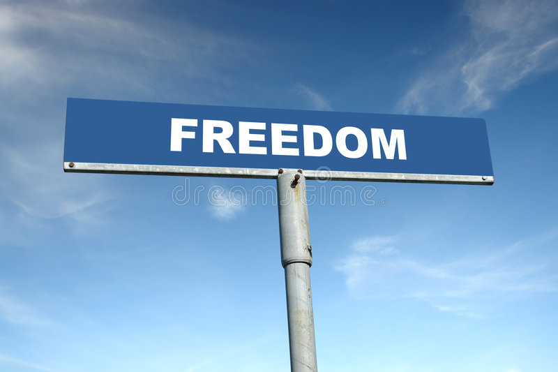 Poteau indicateur de liberté image stock