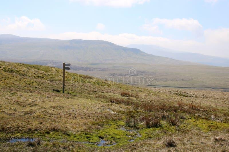 Poteau indicateur de Moorland sur la côte pour marcher le sentier piéton photo stock