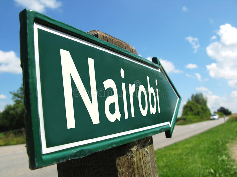 Poteau indicateur de Nairobi images stock