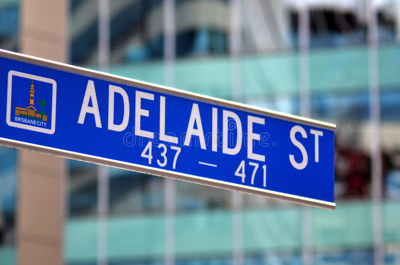 Poteau indicateur de rue d'Adelaïde - Australie de Brisbane photo libre de droits