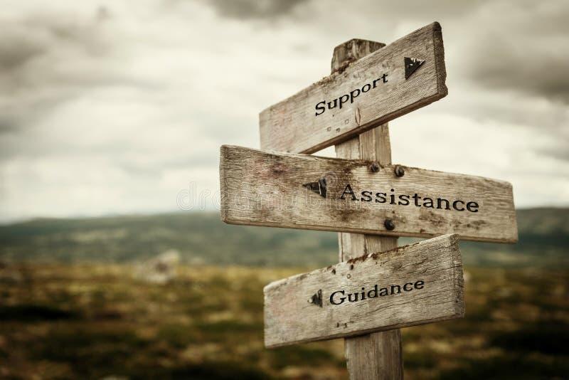 Poteau indicateur de soutien, d'aide et de conseils image stock