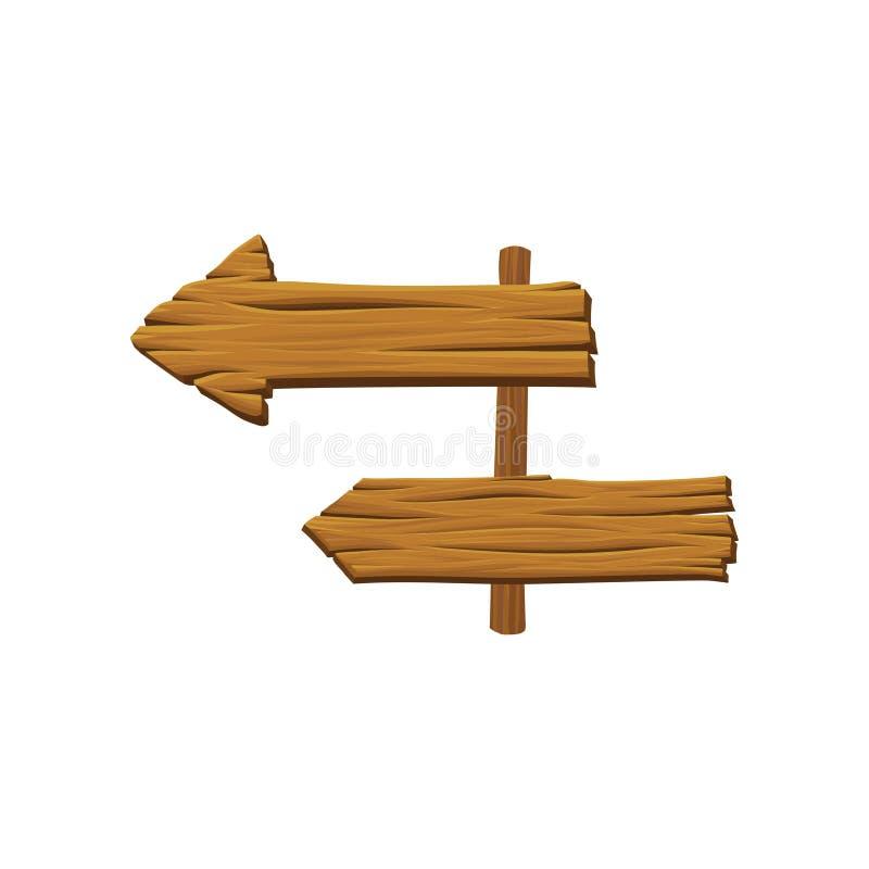 Poteau indicateur en bois avec des flèches Conseils de Brown avec la texture naturelle Signaux de direction d'enjeu Matière organ illustration de vecteur