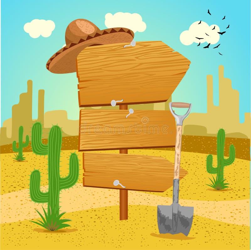 Poteau indicateur en bois dans le désert mexicain avec le cactus, la pelle et un sombrero illustration de vecteur
