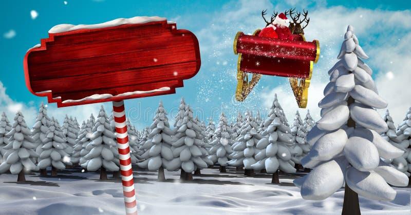 Poteau indicateur en bois dans le traîneau de paysage d'hiver de Noël et de ` s de Santa et le ` s de renne illustration stock