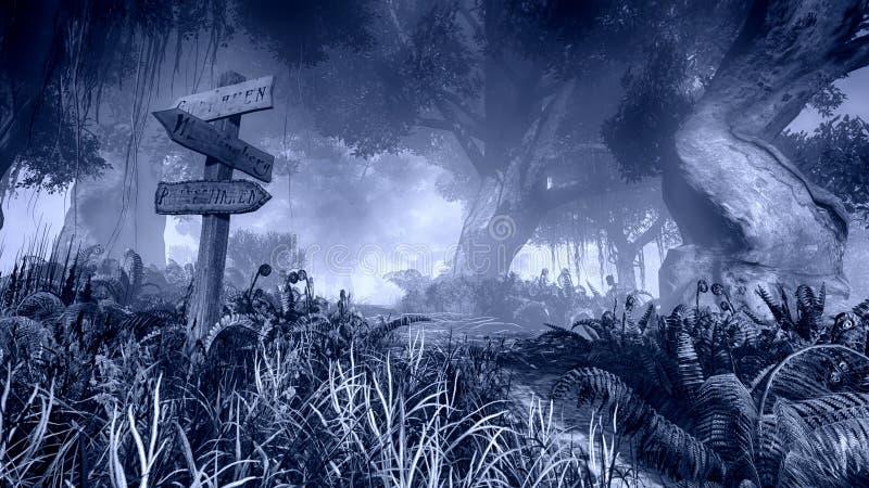 Poteau indicateur en bois dans une forêt brumeuse de nuit images libres de droits