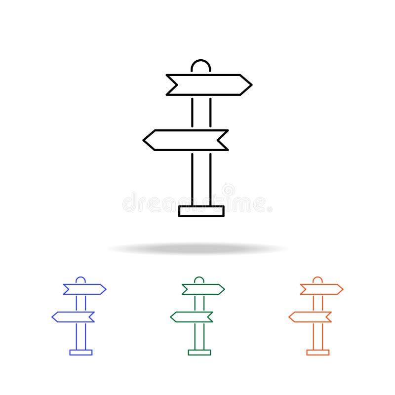 Poteau indicateur, icône d'indicateur Éléments des immobiliers dans les icônes colorées multi Icône de la meilleure qualité de co illustration libre de droits
