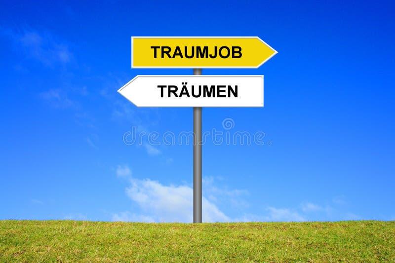 Poteau indicateur montrant l'allemand de rêve ou de travail de rêve photo stock