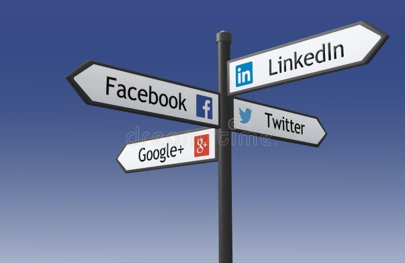 Poteau indicateur social de réseau illustration stock