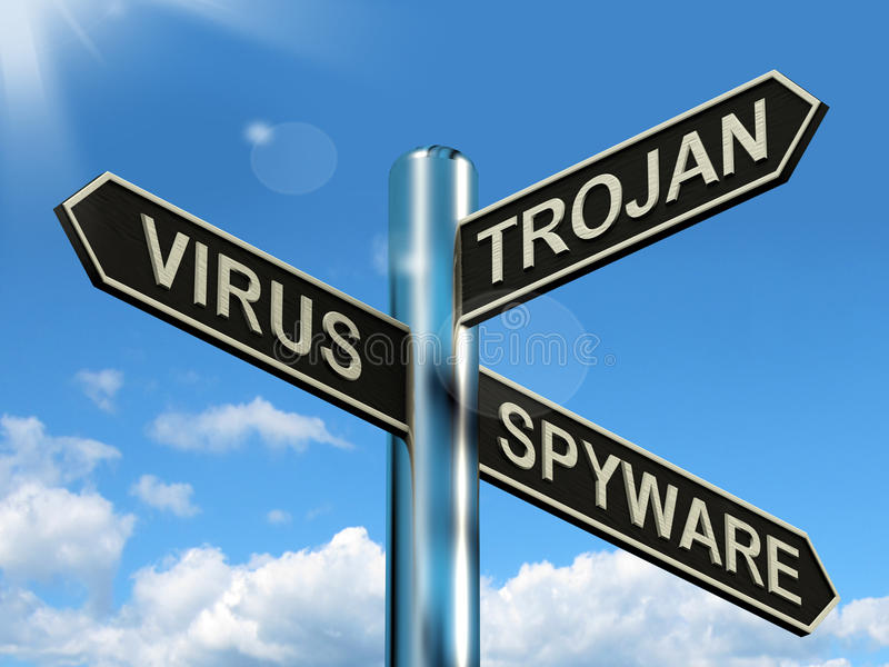 Poteau indicateur Trojan de Spyware de virus montrant l'Internet ou l'ordinateur Threa illustration stock