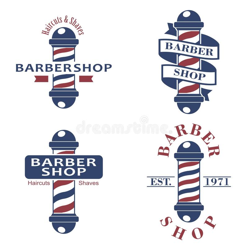 Poteaux de salon de coiffure réglés Icônes de salle de coiffure d'isolement sur le fond blanc Signe et symbole de raseur-coiffeur illustration de vecteur