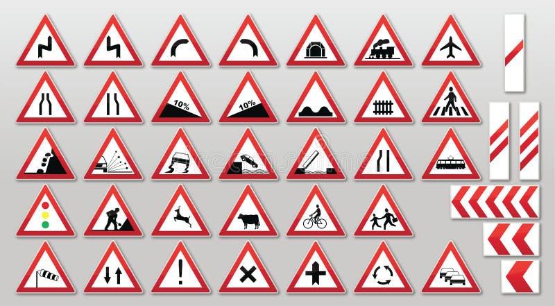 Poteaux de signalisation - avertissements illustration libre de droits