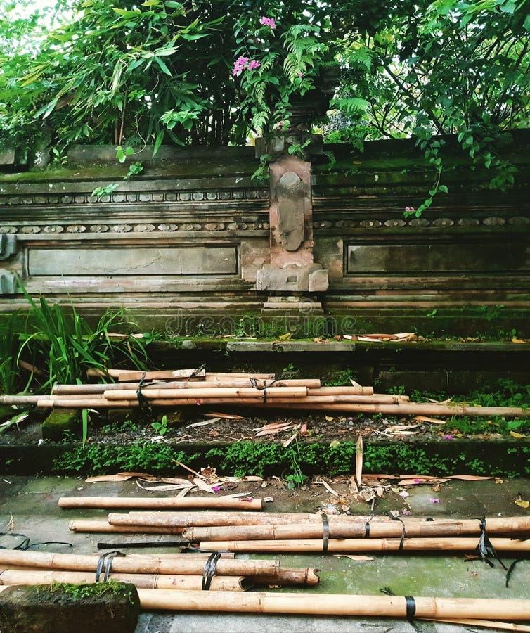 Poteaux en bambou, Ubud, Bali image stock
