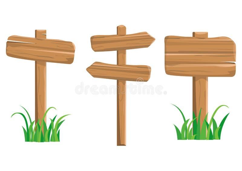Poteaux indicateurs en bois colorés par bande dessinée Vecteur illustration stock