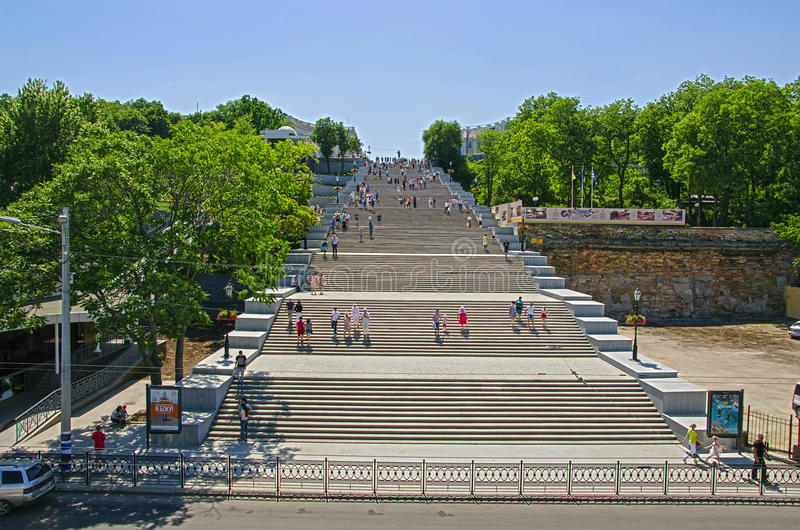Potemkin Stairs Odessa Ukraine. Potemkin Stairs or Potemkin Steps is a giant stairway in Odessa, Ukraine. The stairs are considered a formal entrance into the royalty free stock images