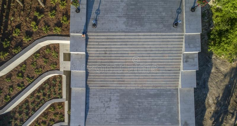 Potemkin Steps Istanbul Park Aerial in Odessa royalty free stock photography
