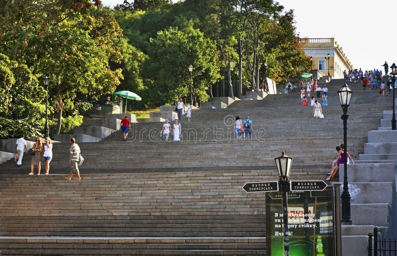Potemkin trappa i Odessa ukraine arkivbilder