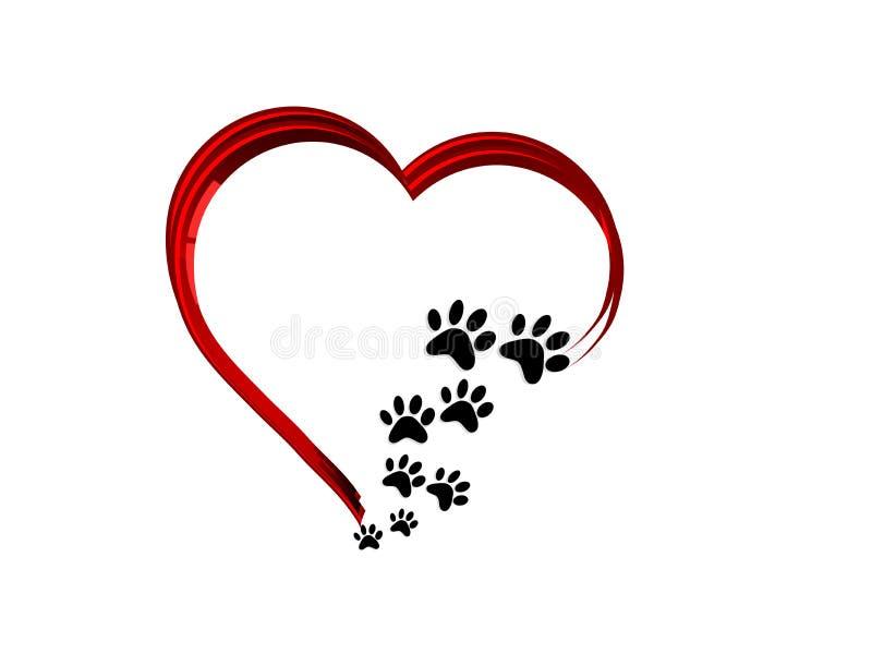 Poten in rood hart stock afbeeldingen