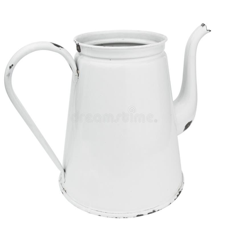 Potenciômetro branco do café do esmalte imagem de stock royalty free