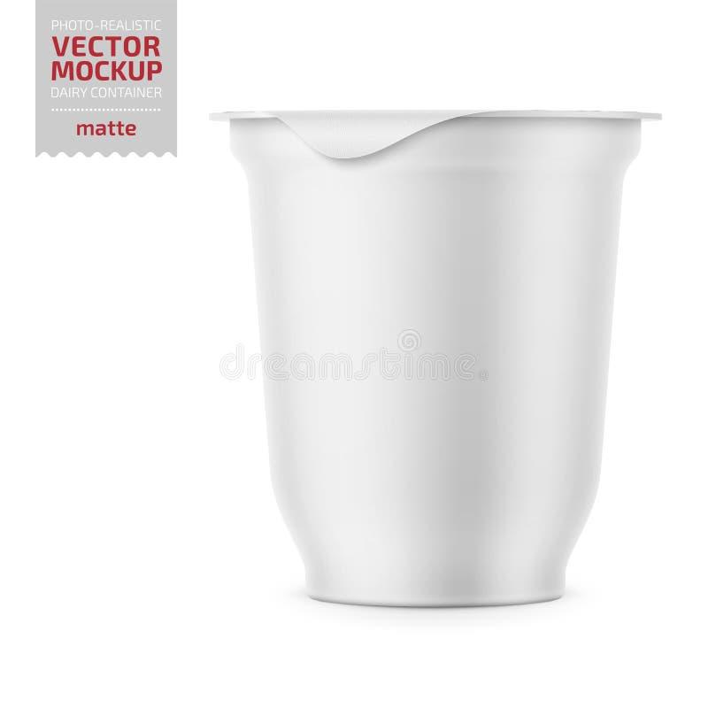 Potenciômetro branco do iogurte com o modelo da tampa da folha ilustração royalty free