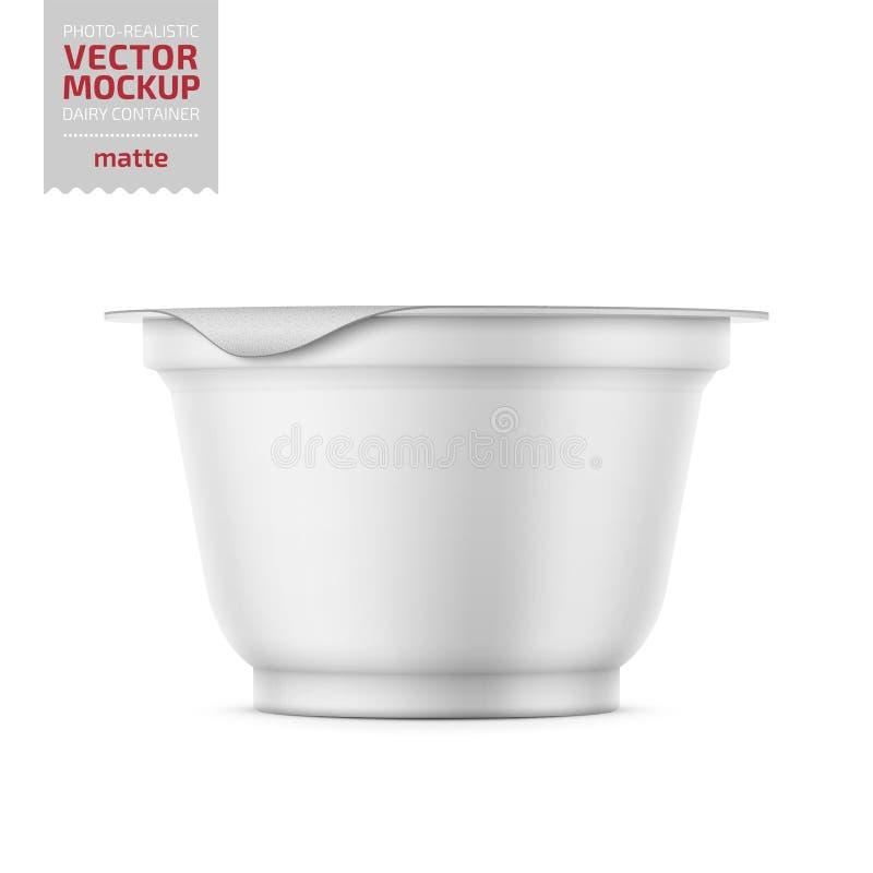 Potenciômetro branco do iogurte com o modelo da tampa da folha ilustração stock