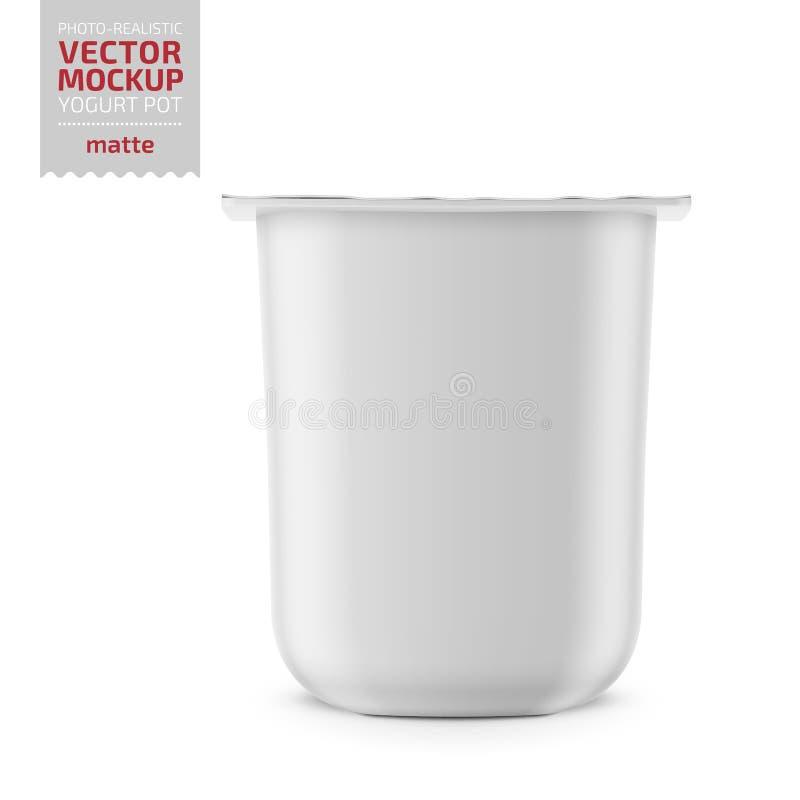 Potenciômetro branco do iogurte com o modelo da tampa da folha ilustração do vetor