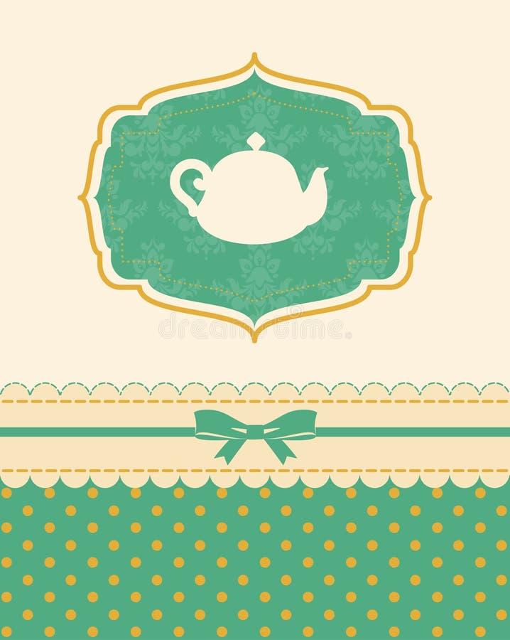 Potenciômetro cerâmico do chá do vintage ilustração royalty free