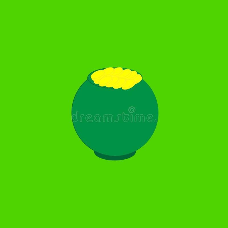 Potenciômetro com as moedas no fundo verde ilustração do vetor