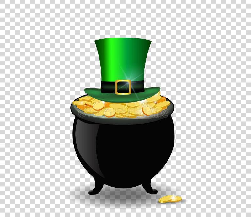 Potenciômetro completamente de moedas douradas e do chapéu verde isolados em transparente ilustração do vetor