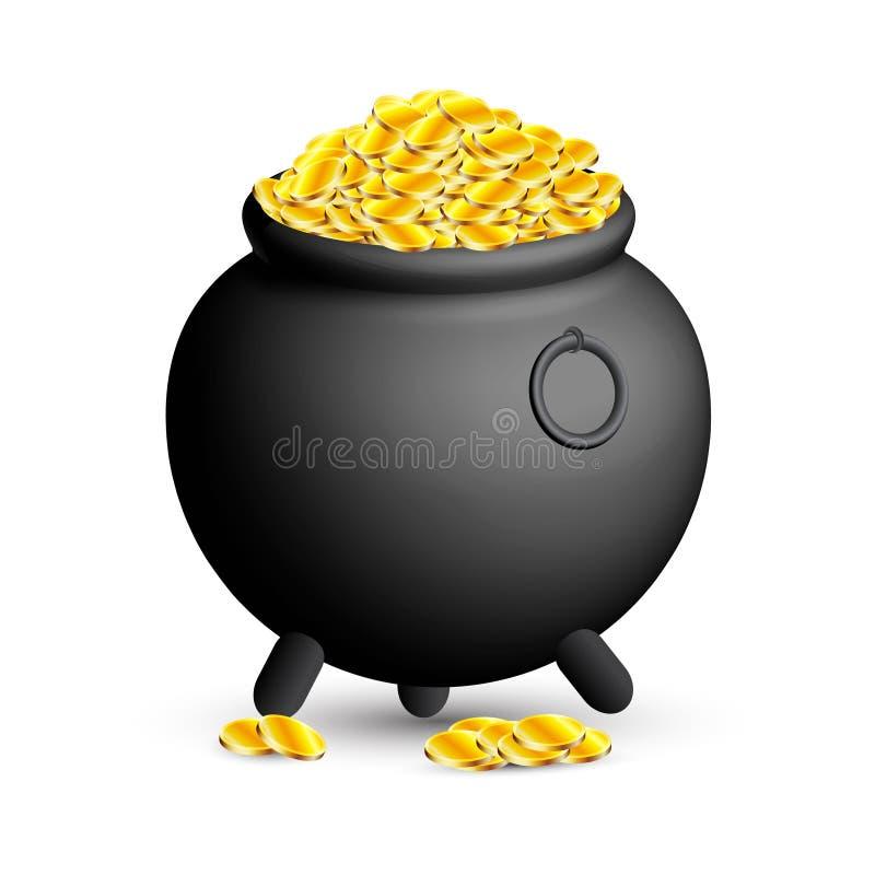Potenciômetro completamente de moedas de ouro para o dia de St Patrick ilustração do vetor