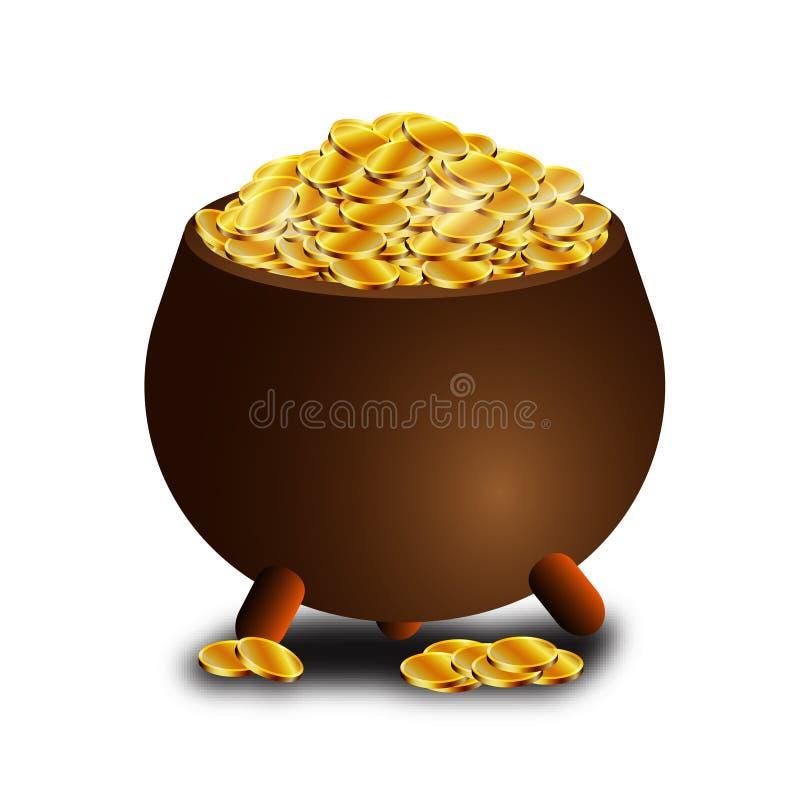 Potenciômetro completamente de moedas de ouro para o dia de St Patrick ilustração royalty free