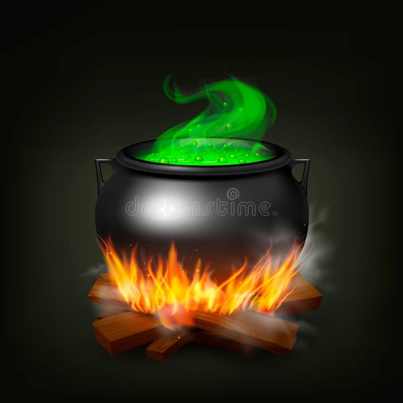 Potenciômetro da bruxa no fogo ilustração royalty free