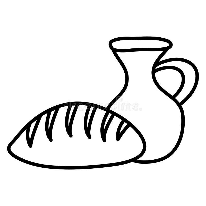 Potenciômetro da cantina do frasco com pão ilustração do vetor