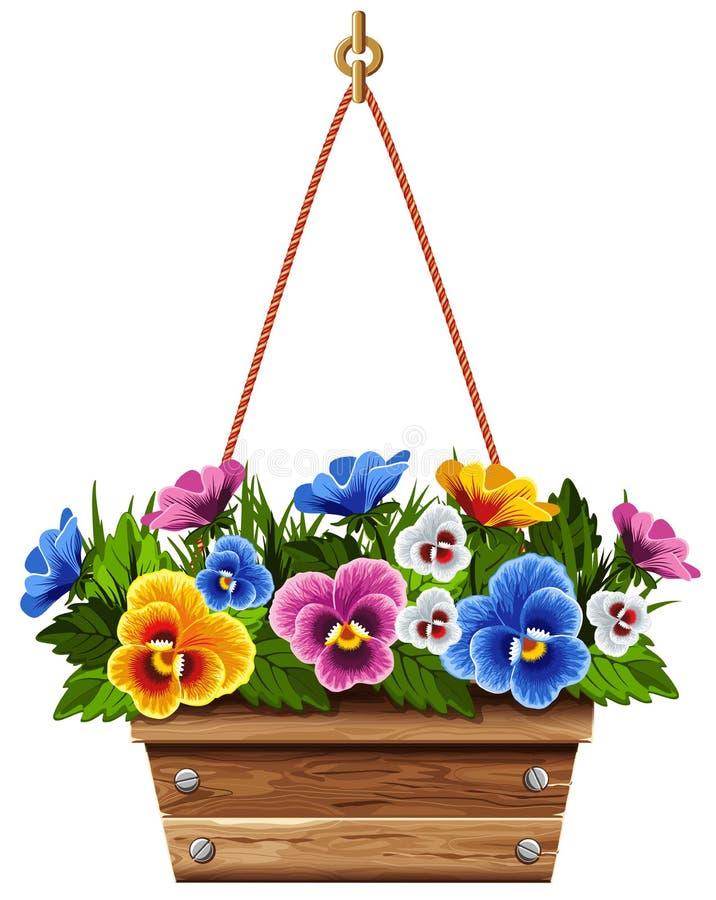 Potenciômetro de flor de madeira com pansies ilustração stock