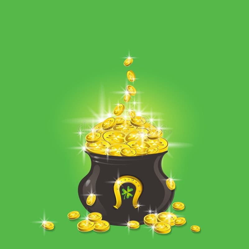 Potenciômetro de ouro Cartão de cumprimentos do dia de Patricks Projeto do dia de Patrick com o potenciômetro com moedas douradas ilustração royalty free