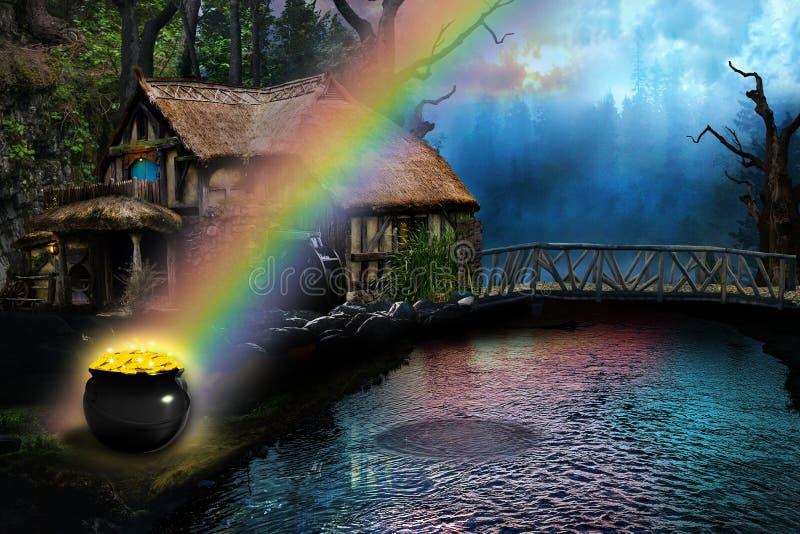 Potenciômetro de ouro na extremidade do arco-íris por uma casa de campo do país fotografia de stock royalty free