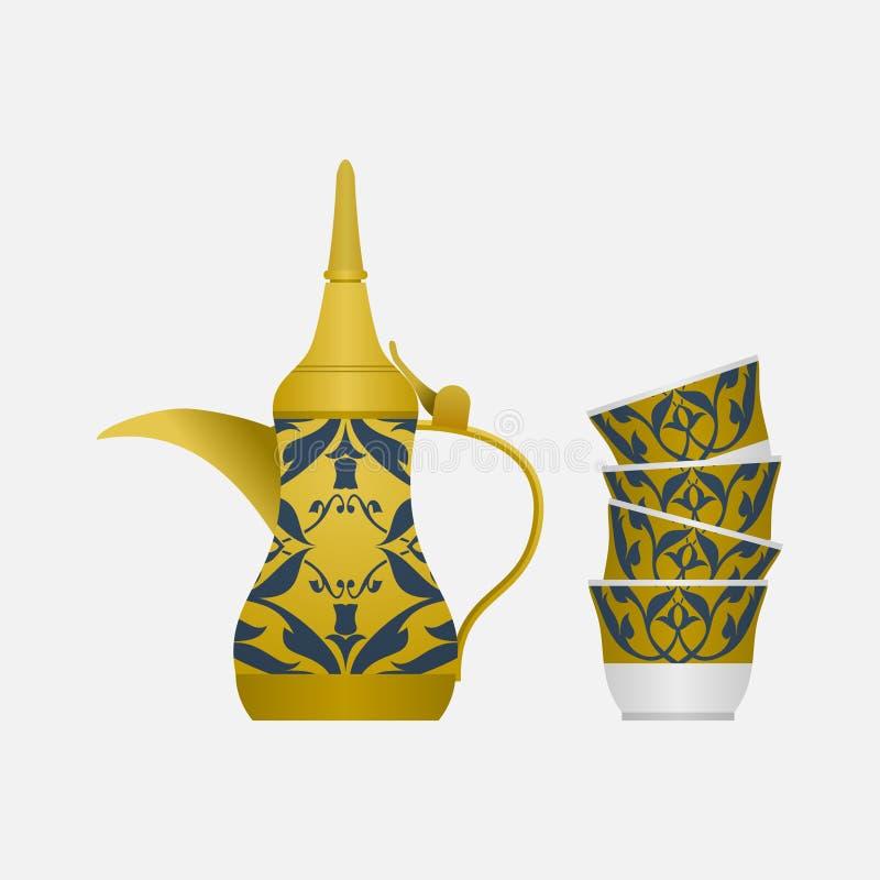 Potenciômetro do café árabe de vista lateral e pilha dos copos ilustração stock
