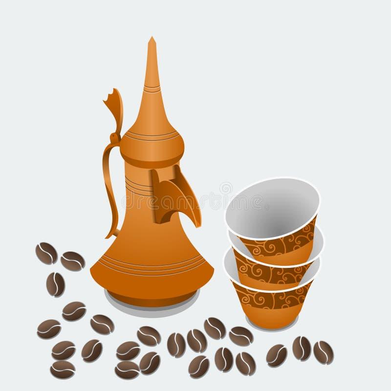 Potenciômetro do café de Dallah e copos árabes de Finjan com feijões Roasted ilustração royalty free