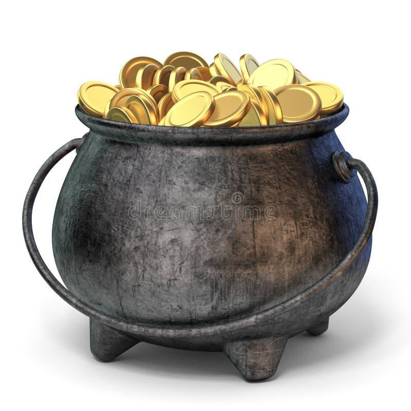 Potenciômetro do ferro completamente das moedas douradas 3D ilustração stock