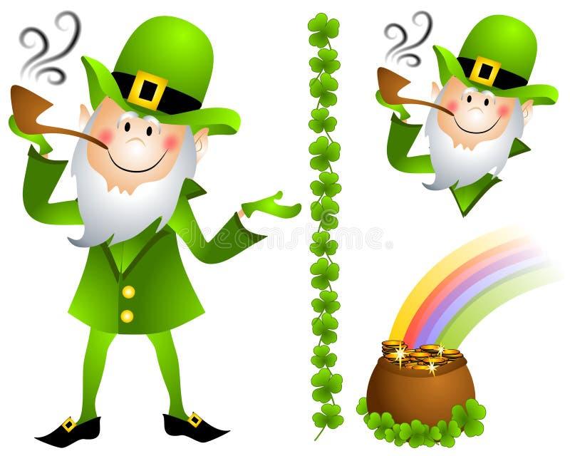 Potenciômetro do Leprechaun do dia do St. Patrick de ouro 2 ilustração stock