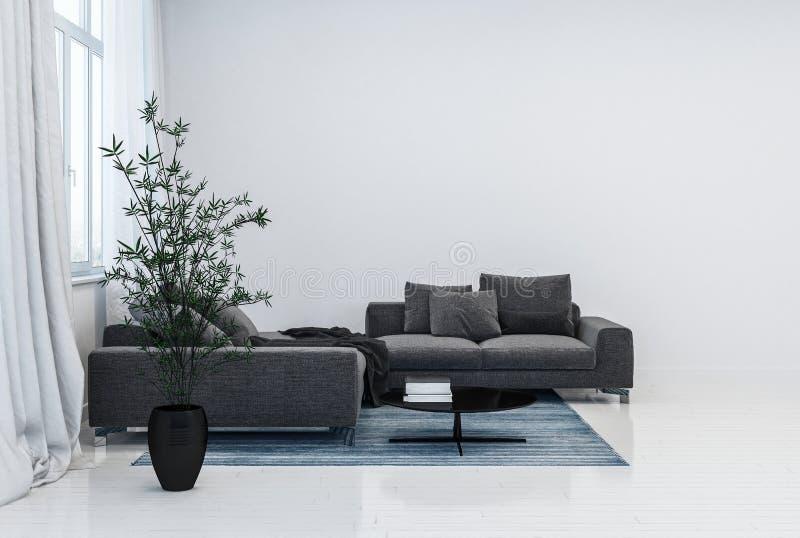 Potenciômetro do sofá preto e da planta na sala branca lustrosa ilustração do vetor