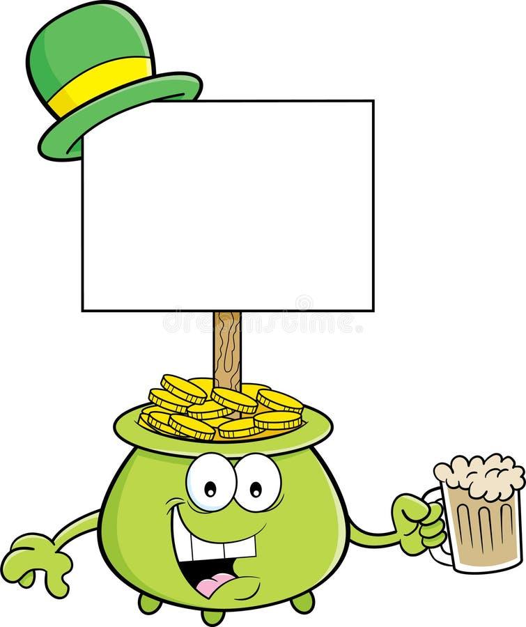 Potenciômetro dos desenhos animados de ouro com um sinal e guardar um vidro da cerveja ilustração royalty free
