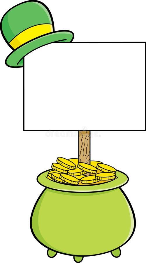 Potenciômetro dos desenhos animados de ouro com um sinal que tenha um derby na parte superior ilustração royalty free