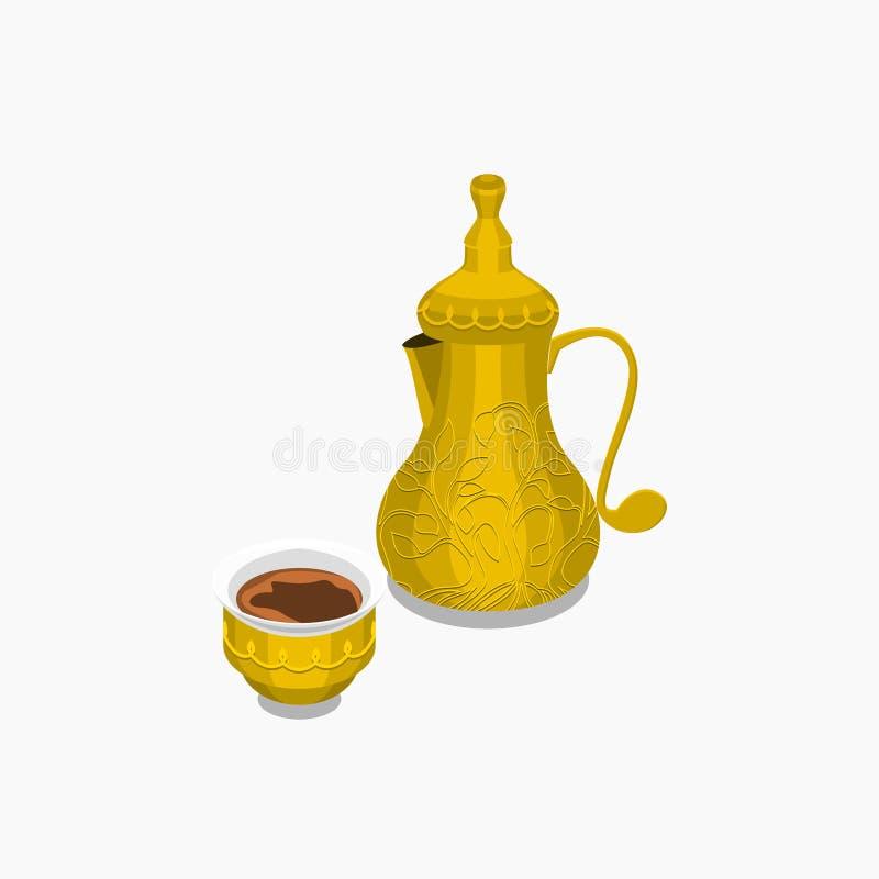 Potenciômetro e copo do café árabe ilustração do vetor