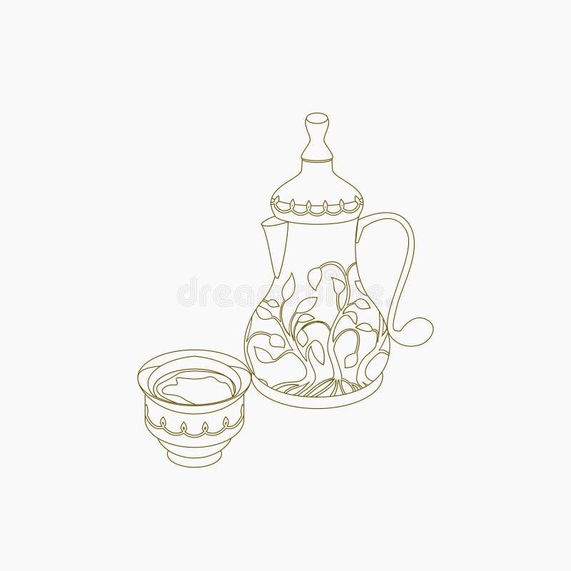 Potenciômetro e copo do café árabe do estilo do esboço ilustração do vetor