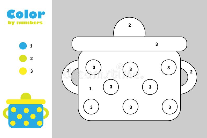 Potenciômetro no estilo dos desenhos animados, cor pelo número, jogo do papel da educação para o desenvolvimento das crianças, pá ilustração royalty free