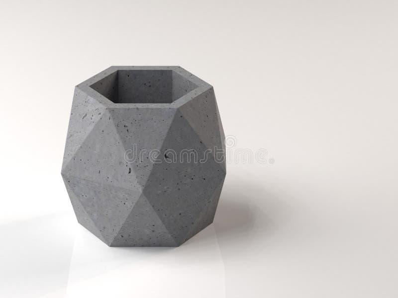 Potenciômetro poligonal para as plantas feitas do concreto O objeto do design de interiores moderno ilustra??o 3D ilustração royalty free