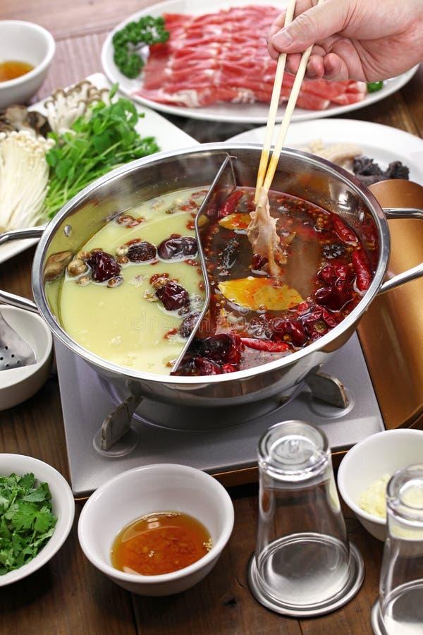 Potenciômetro quente de yang do yin de Chongqing foto de stock royalty free