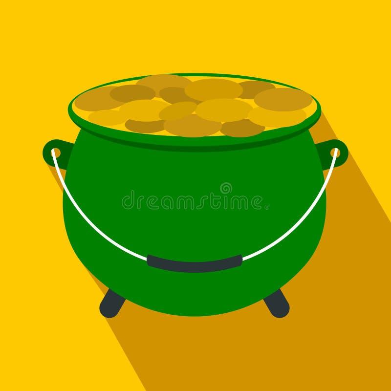 Potenciômetro verde completamente do ícone liso das moedas de ouro ilustração do vetor